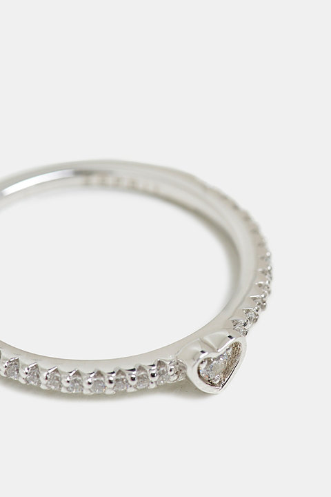 Ring with zirconia, sterling silver