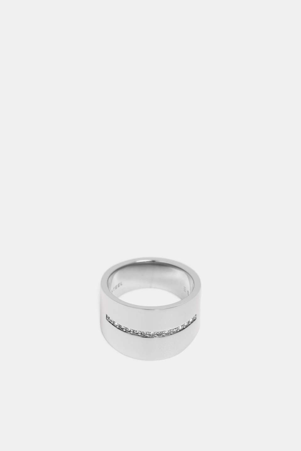 Wide stainless-steel ring with a row of zirconia stones, 1COLOR, detail image number 1