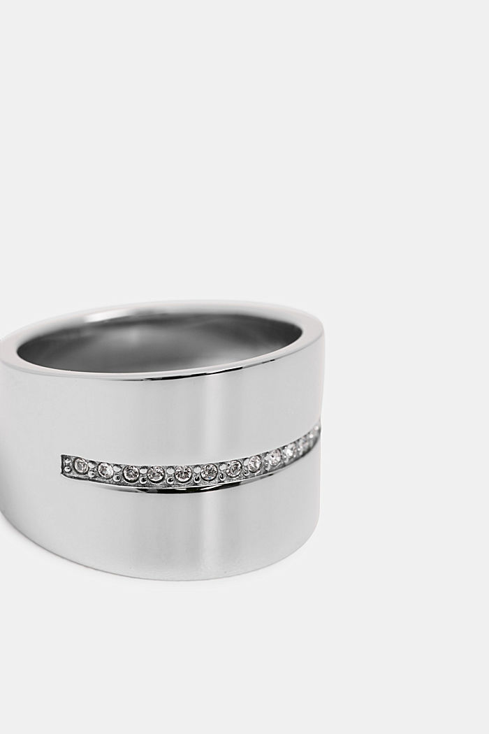 Wide stainless-steel ring with a row of zirconia stones