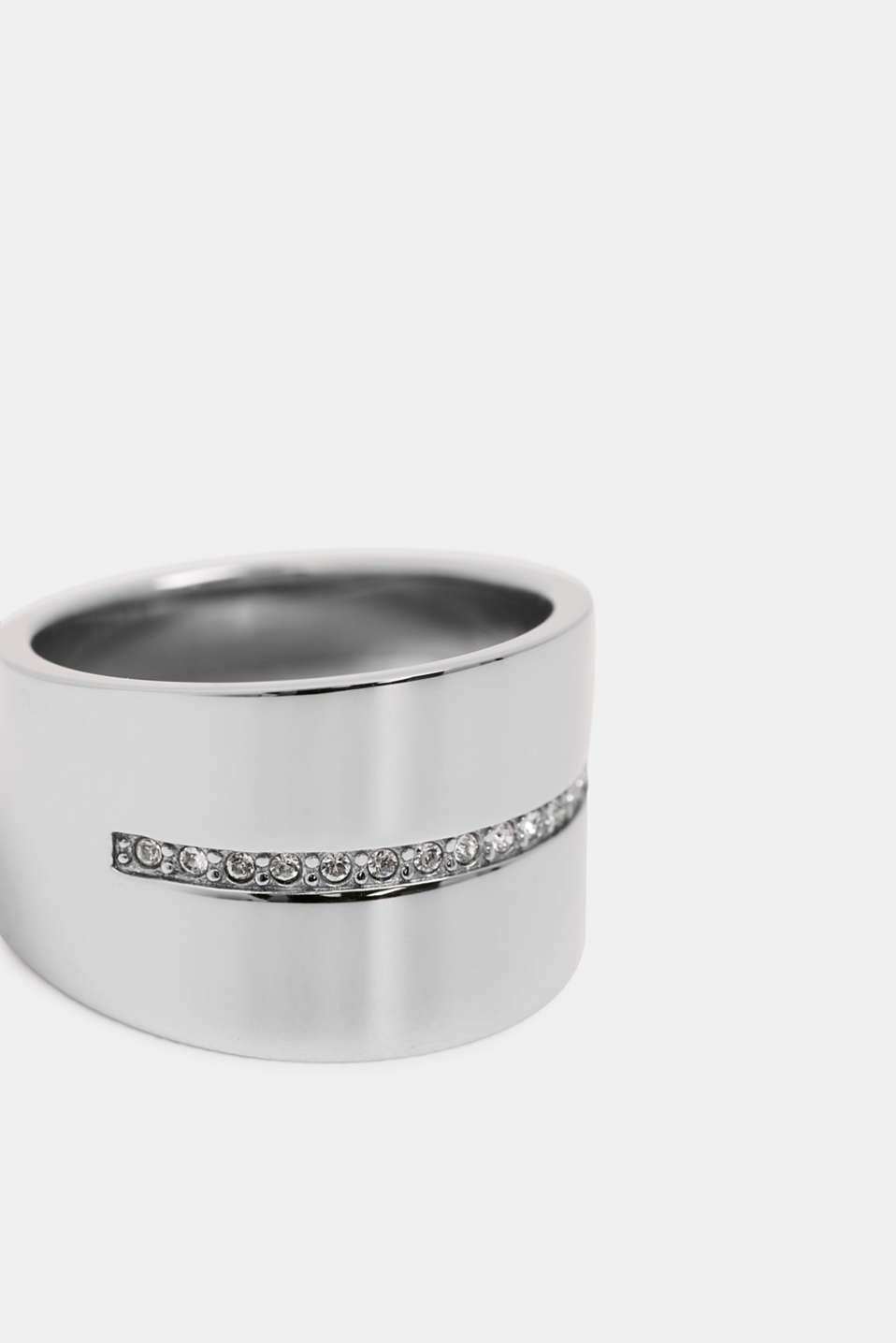 Wide stainless-steel ring with a row of zirconia stones, 1COLOR, detail image number 0