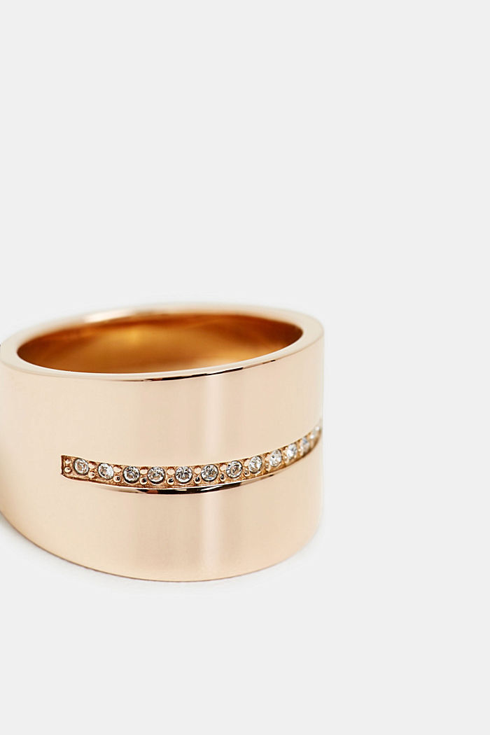 Wide stainless-steel ring with a row of zirconia stones, GOLD, detail image number 1