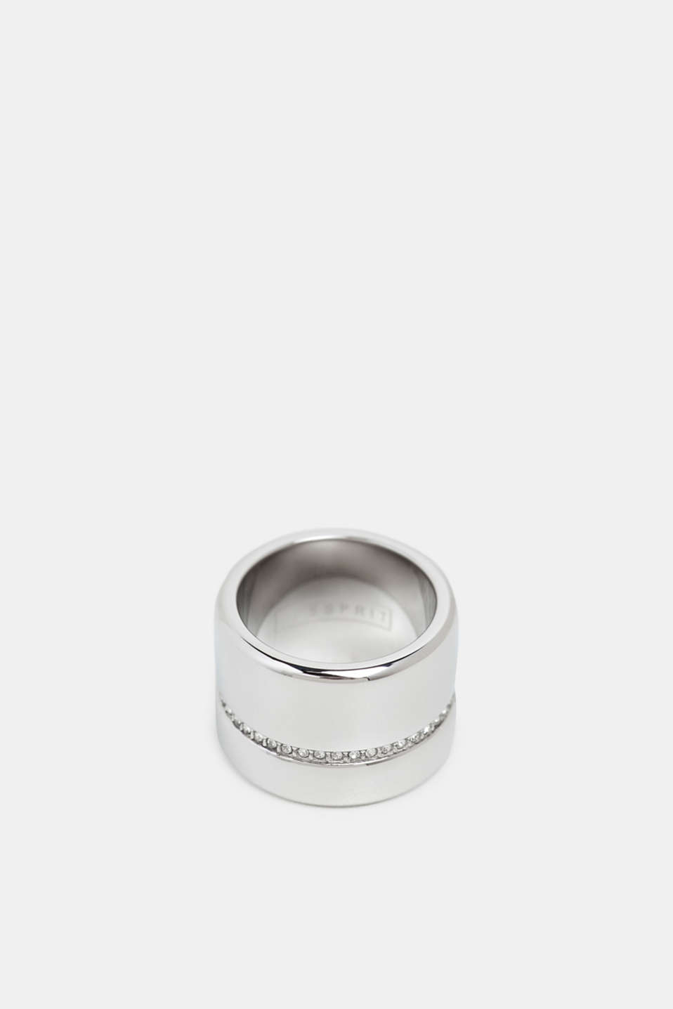Esprit - Statement ring with a row of zirconia, stainless steel