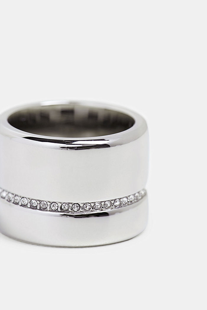 Statement ring with a row of zirconia, stainless steel
