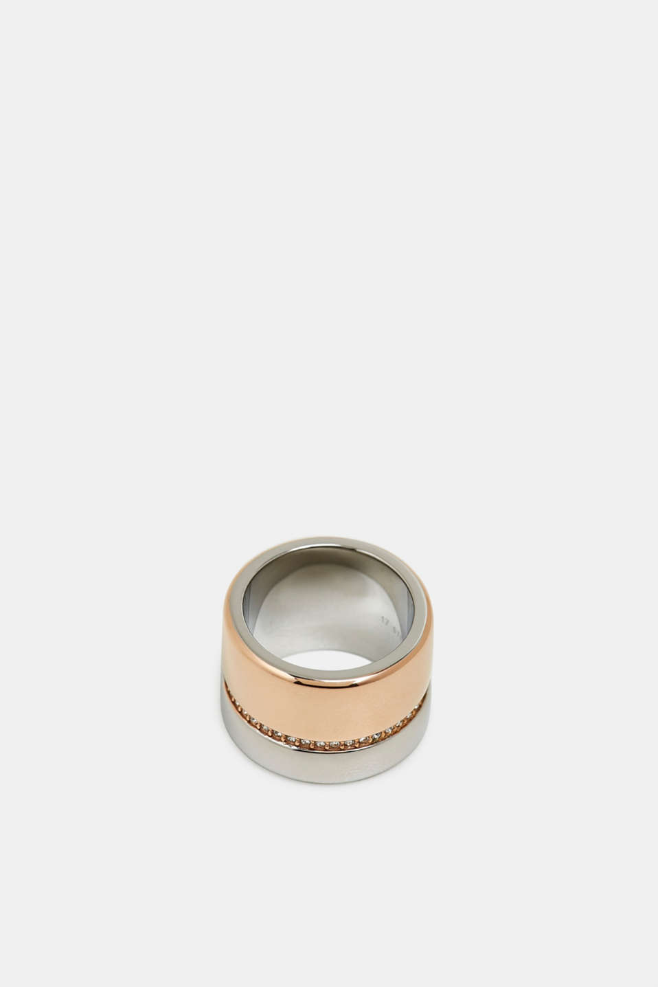 Statement ring with zirconia, made of stainless steel, ROSEGOLD, detail image number 0