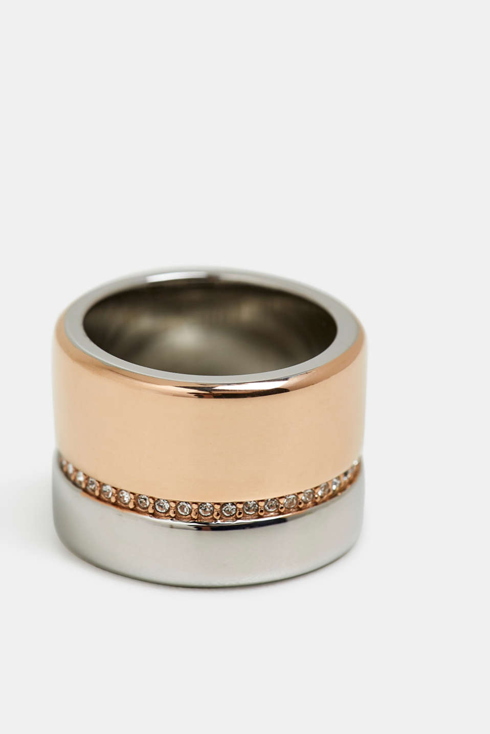 Statement ring with zirconia, made of stainless steel, ROSEGOLD, detail image number 1