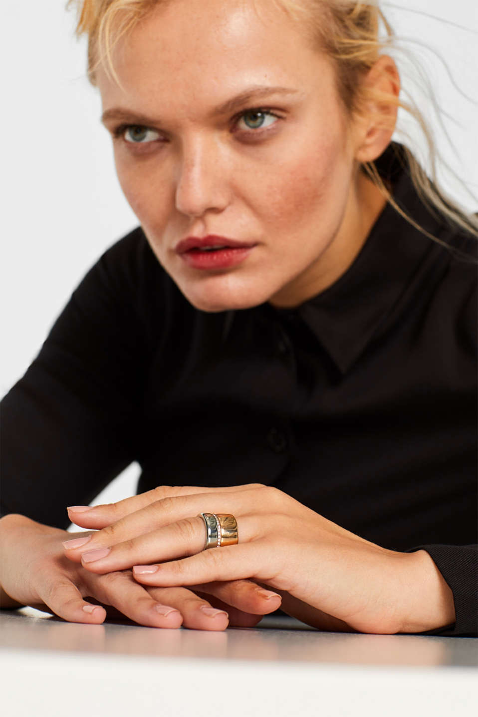 Statement ring with zirconia, made of stainless steel, ROSEGOLD, detail image number 2