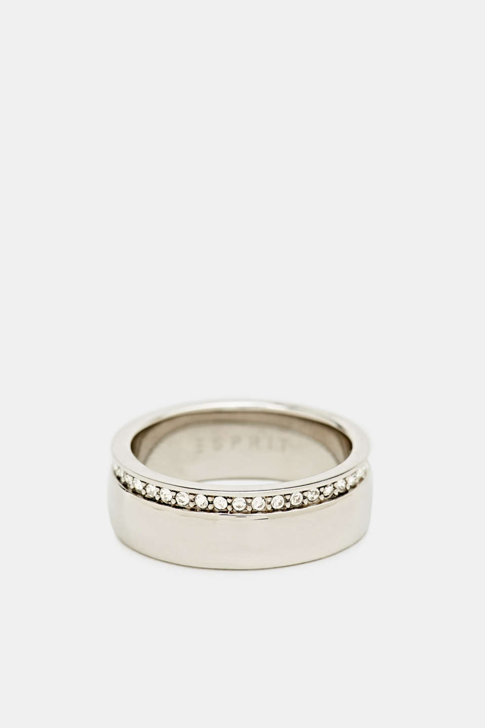 Esprit - Ring with a row of zirconia, stainless steel