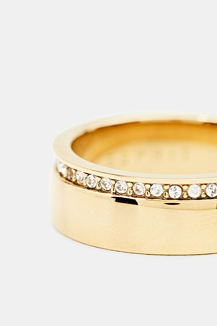 Ring with a row of zirconia, stainless steel, GOLD, detail image number 1