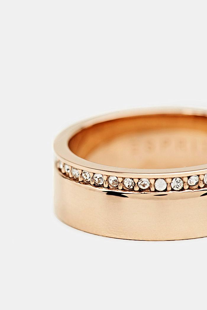 Ring mit Zirkonia-Reihe, Edelstahl, ROSEGOLD, detail image number 1
