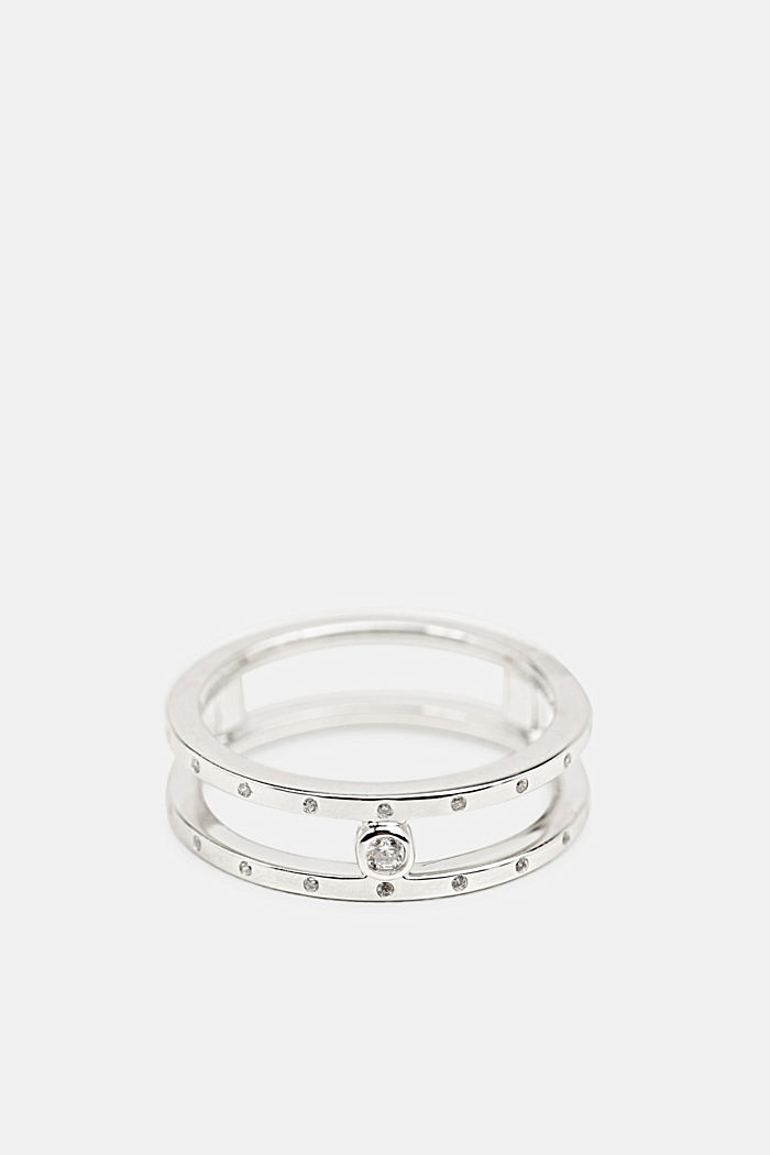 Ring with zirconia, sterling silver, SILVER, detail image number 0