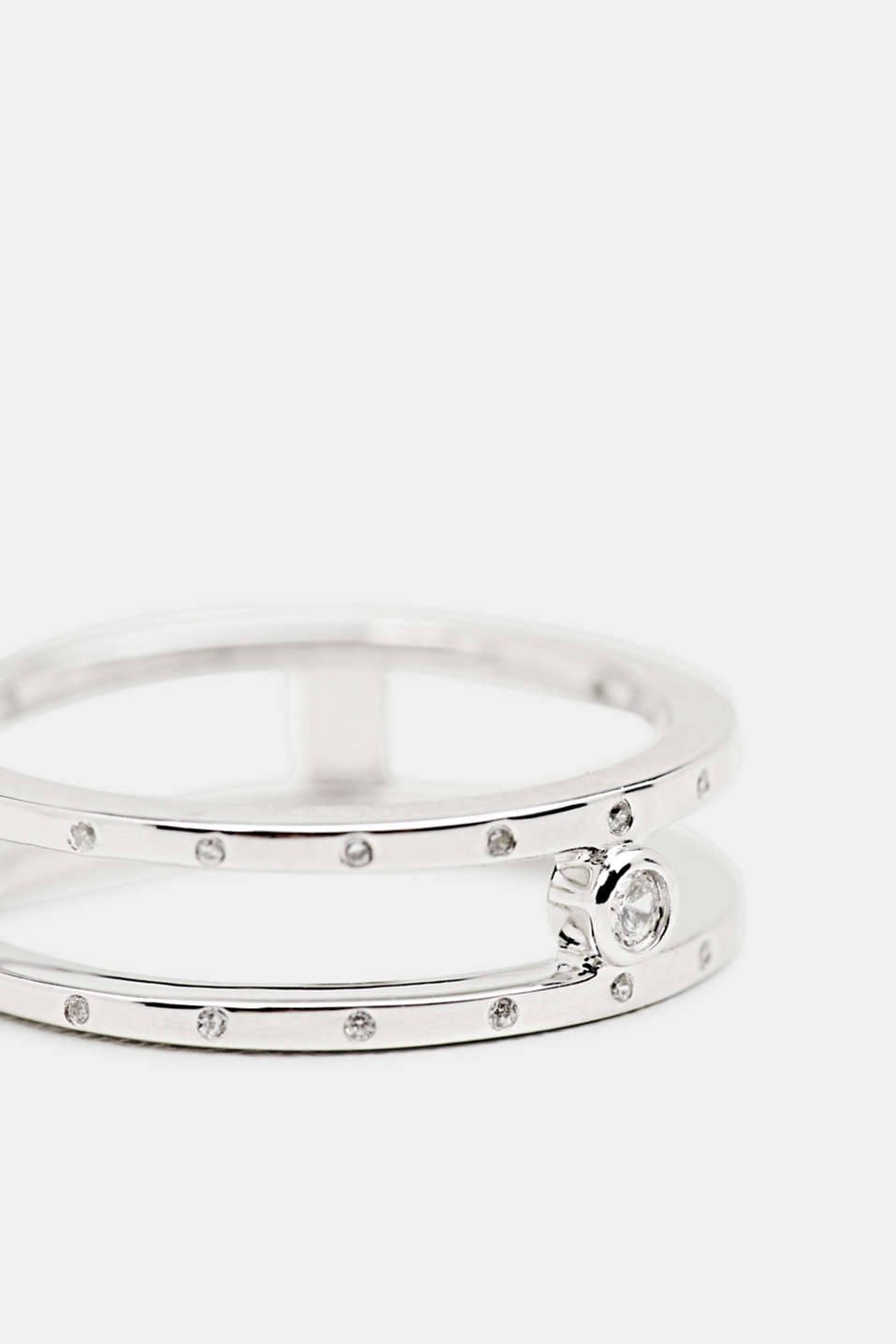 Ring with zirconia, sterling silver, LCSILVER, detail image number 1