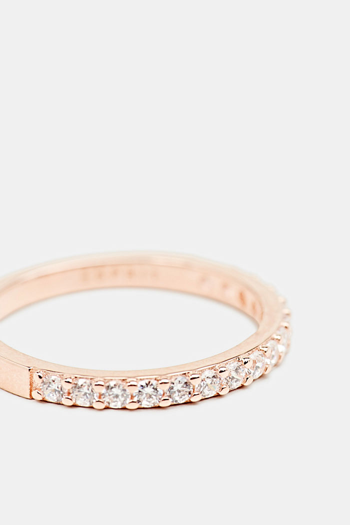 Roségoldener Ring mit Zirkonia, aus Silber, ROSEGOLD, detail image number 1