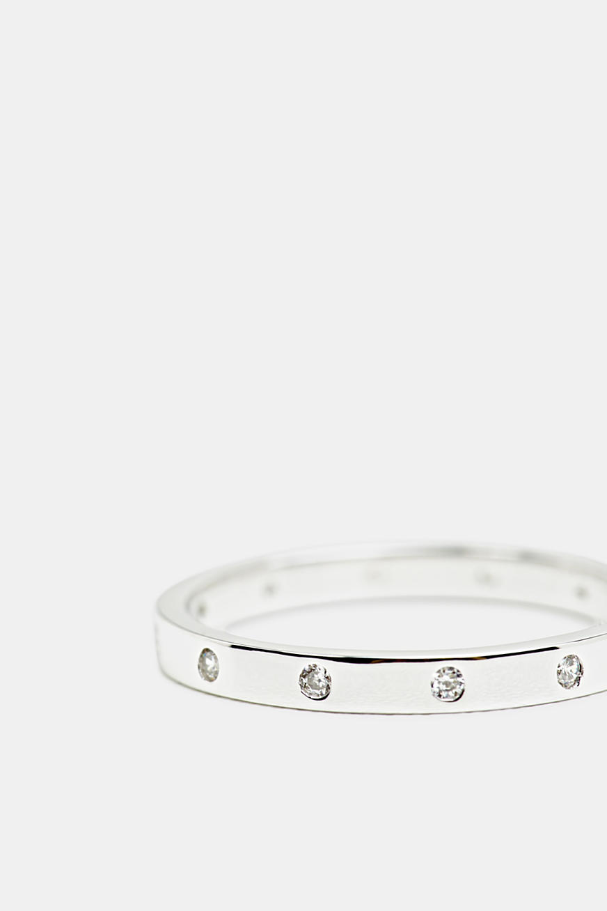 Layered ring with zirconia, sterling silver
