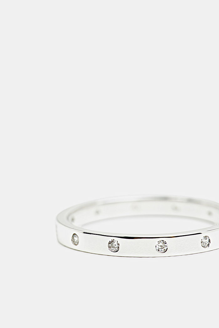 Layered ring with zirconia, sterling silver, SILVER, detail image number 0