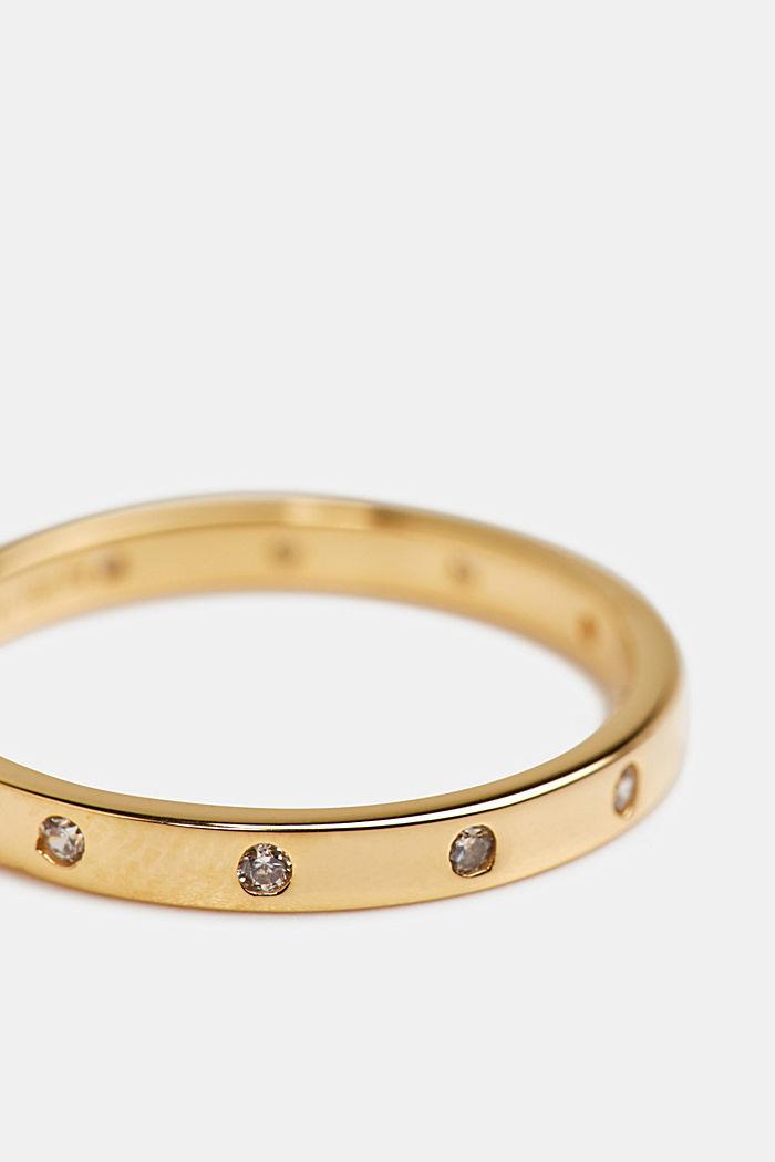 Layering-Ring mit Zirkonia, Sterling Silber, GOLD, detail image number 1