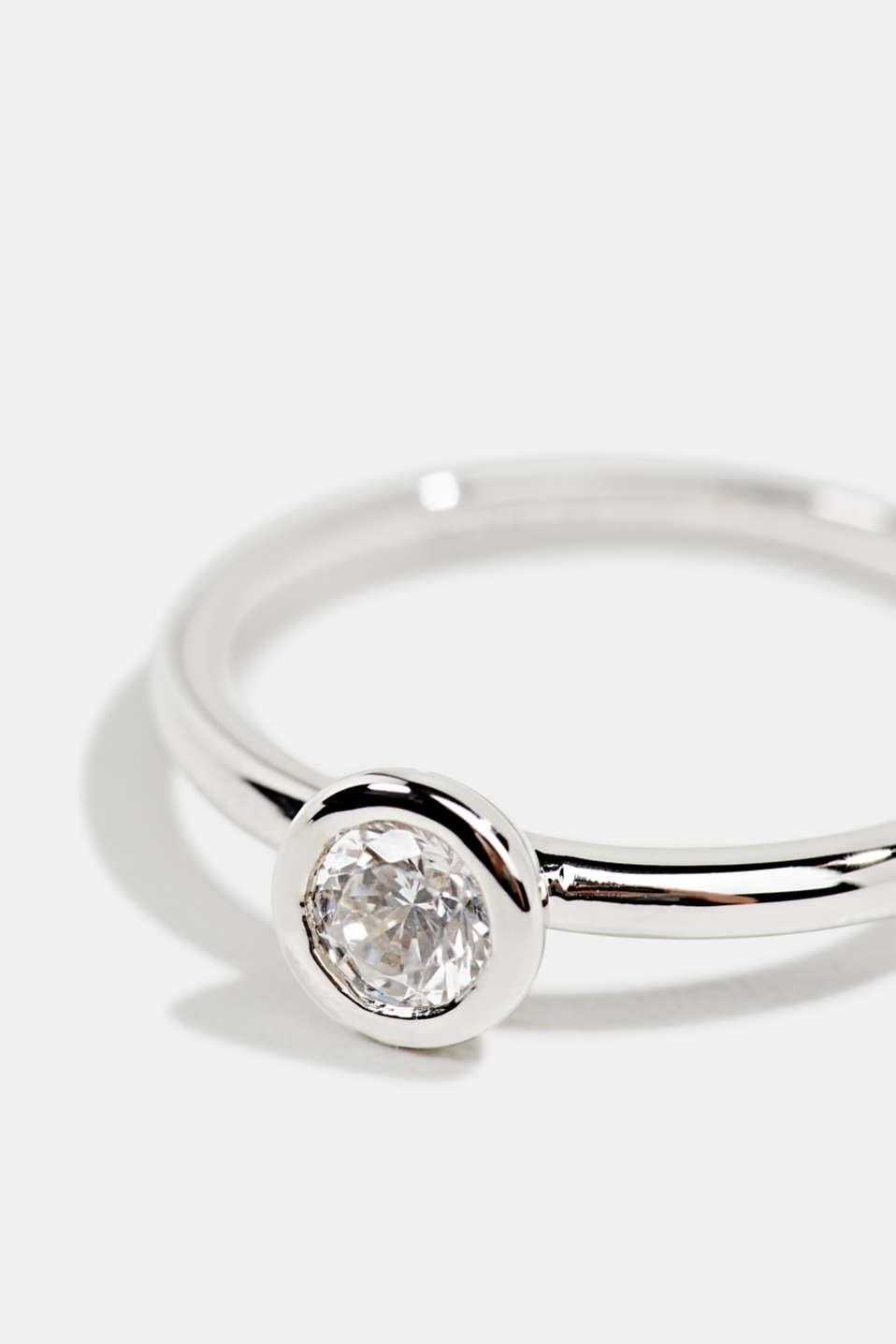 Stainless-steel ring trimmed with zirconia, LCSILVER, detail image number 1