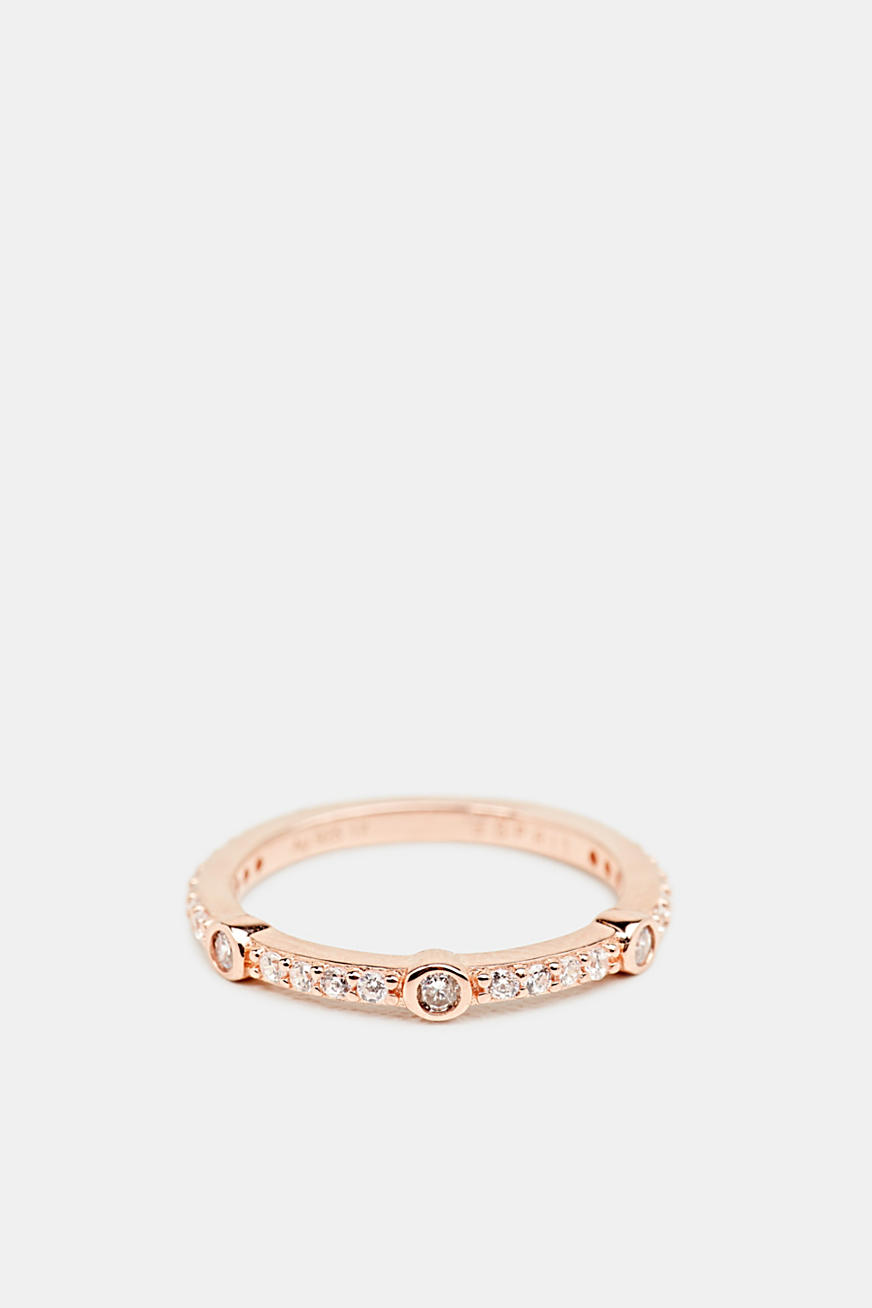 Rose gold ring with zirconia, made of silver