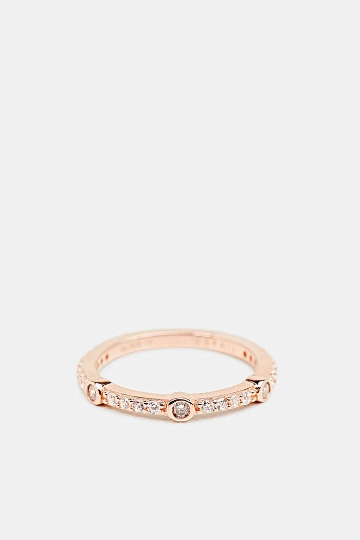 Ring met zirkonia in kleur roségoud, van zilver, ROSEGOLD, detail image number 0