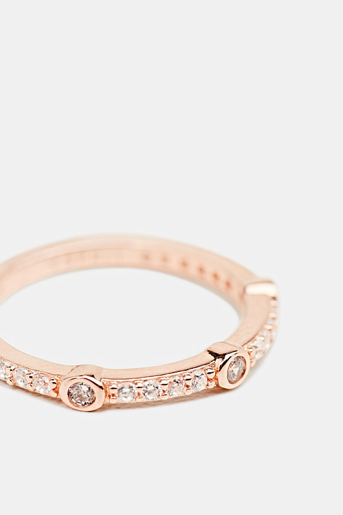 Ring met zirkonia in kleur roségoud, van zilver, ROSEGOLD, detail image number 1