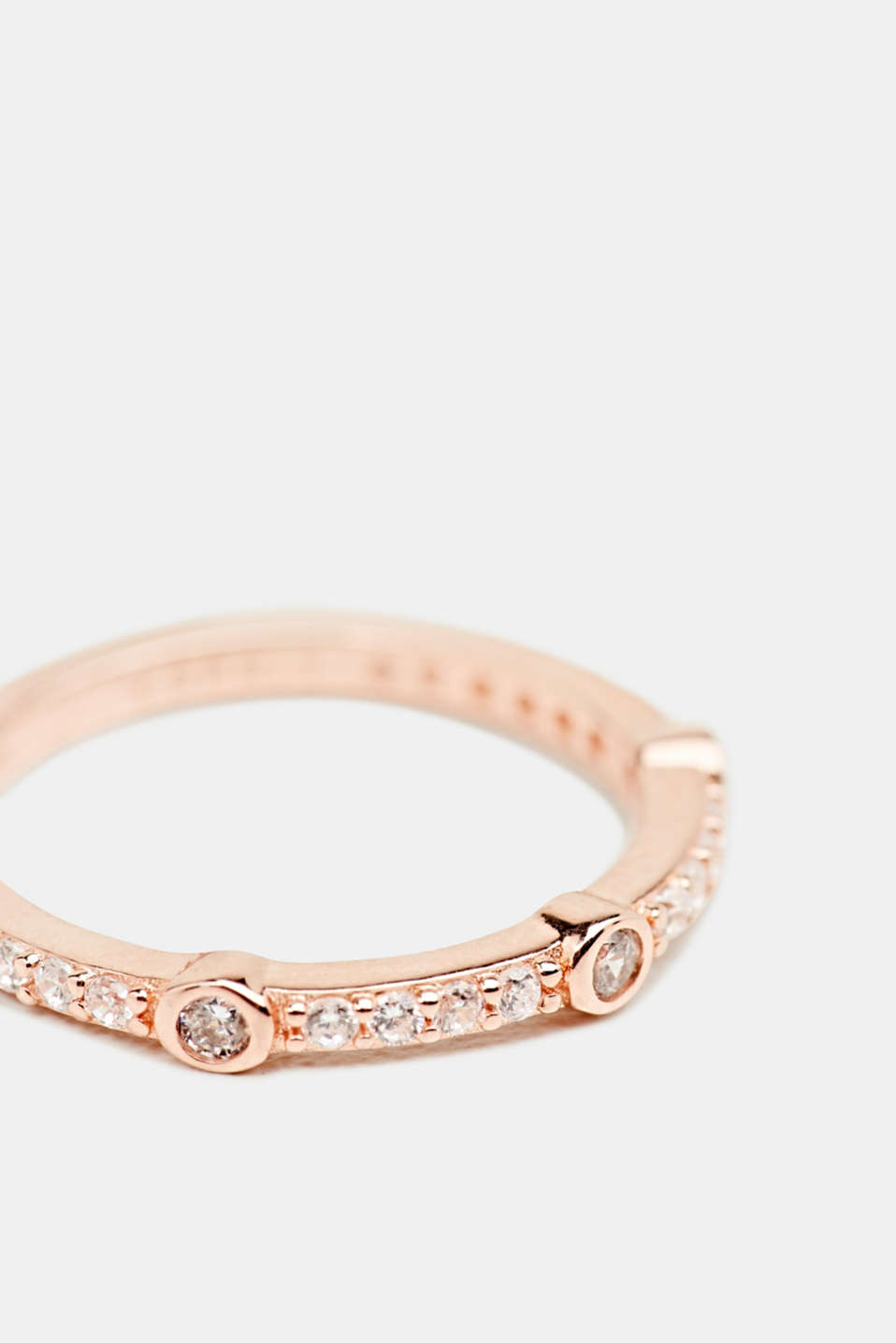 Rose gold ring with zirconia, made of silver, LCROSEGOLD, detail image number 1