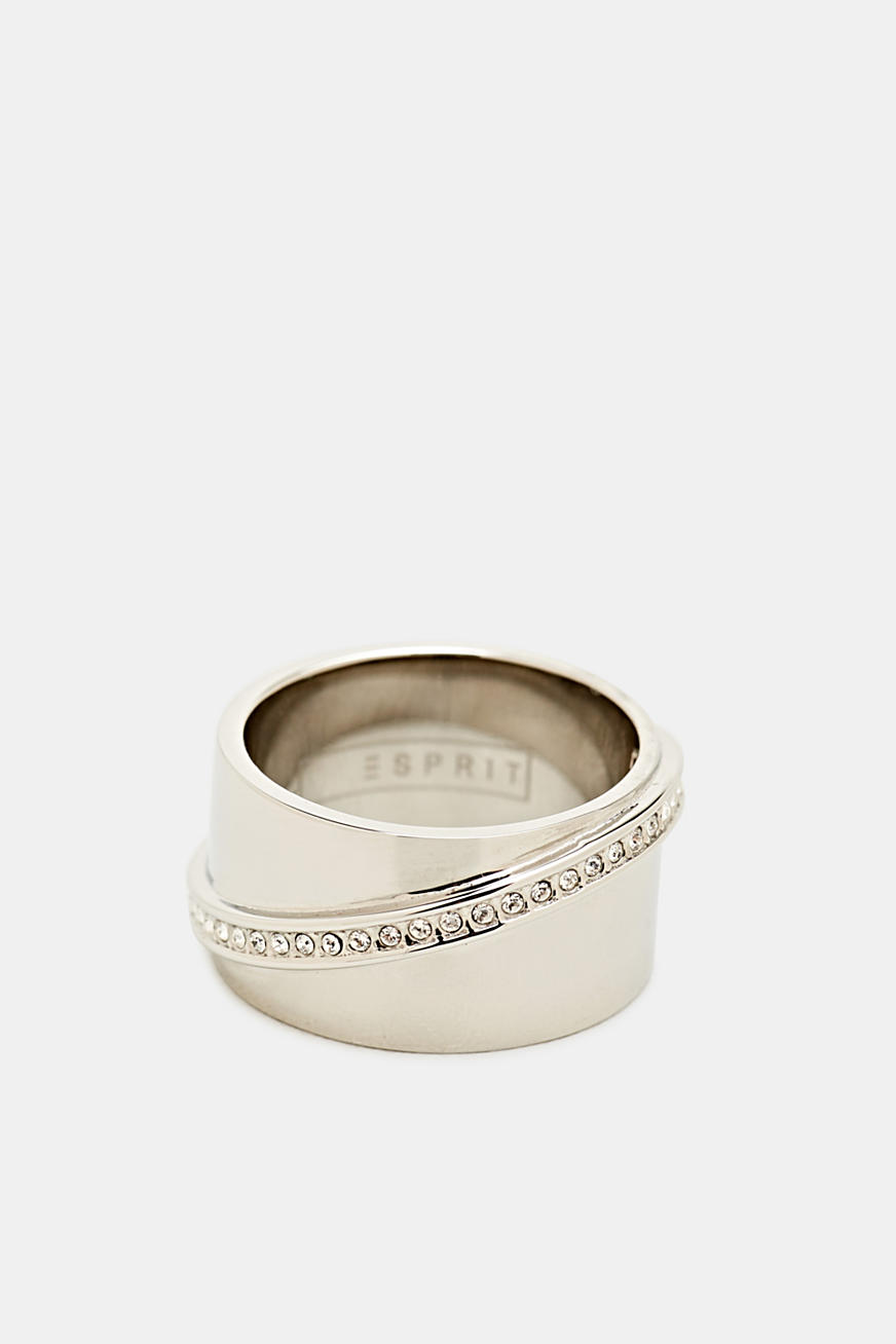 Statement ring met zirkonia, edelstaal