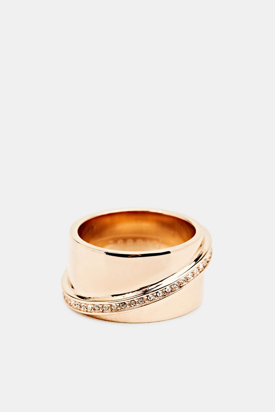Stainless steel statement ring with zirconia, LCROSEGOLD, detail image number 0