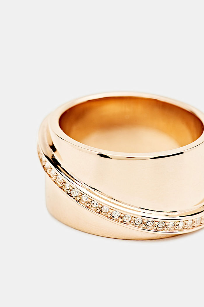 Stainless steel statement ring with zirconia, ROSEGOLD, detail image number 1