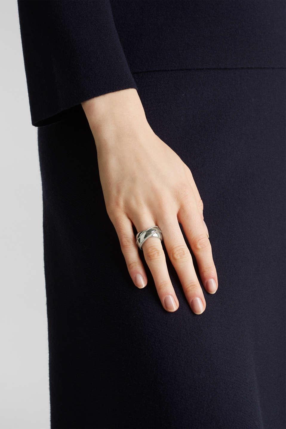 Stainless steel statement ring, LCSILVER, detail image number 2