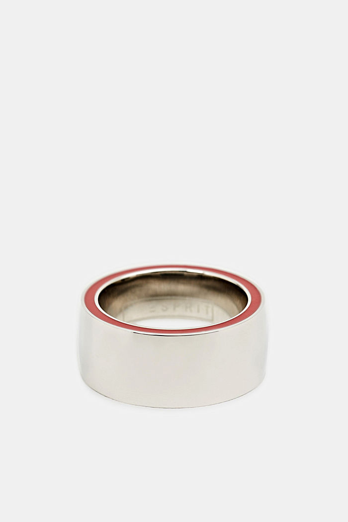 Ring with a red colour accent, stainless steel