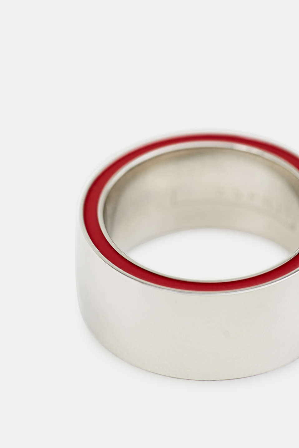 Ring with a red colour accent, stainless steel, LCSILVER, detail image number 1