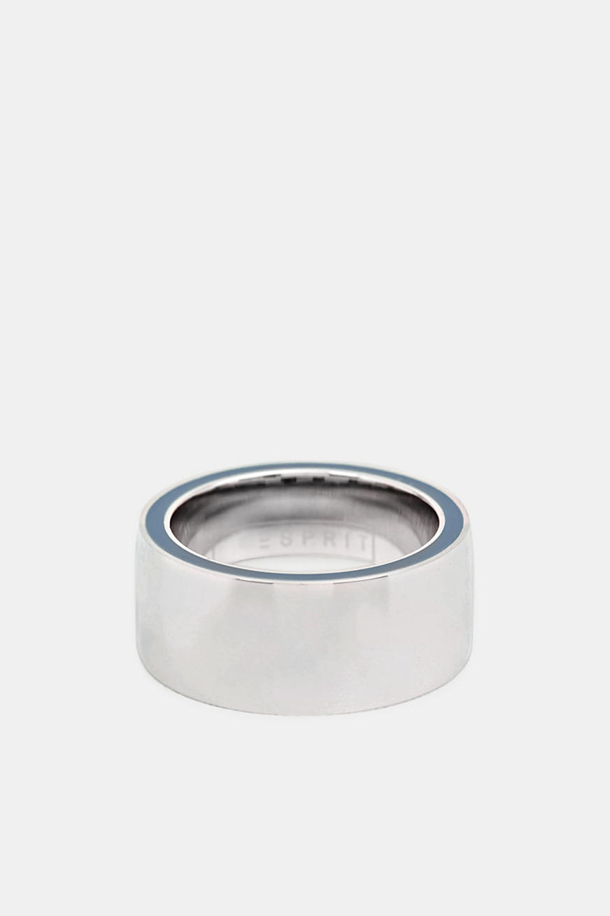 Ring with a blue detail, stainless steel