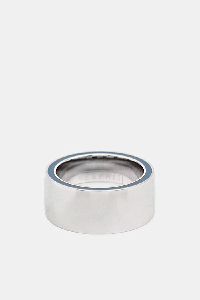 Ring with a blue detail, stainless steel, SILVER, detail image number 0
