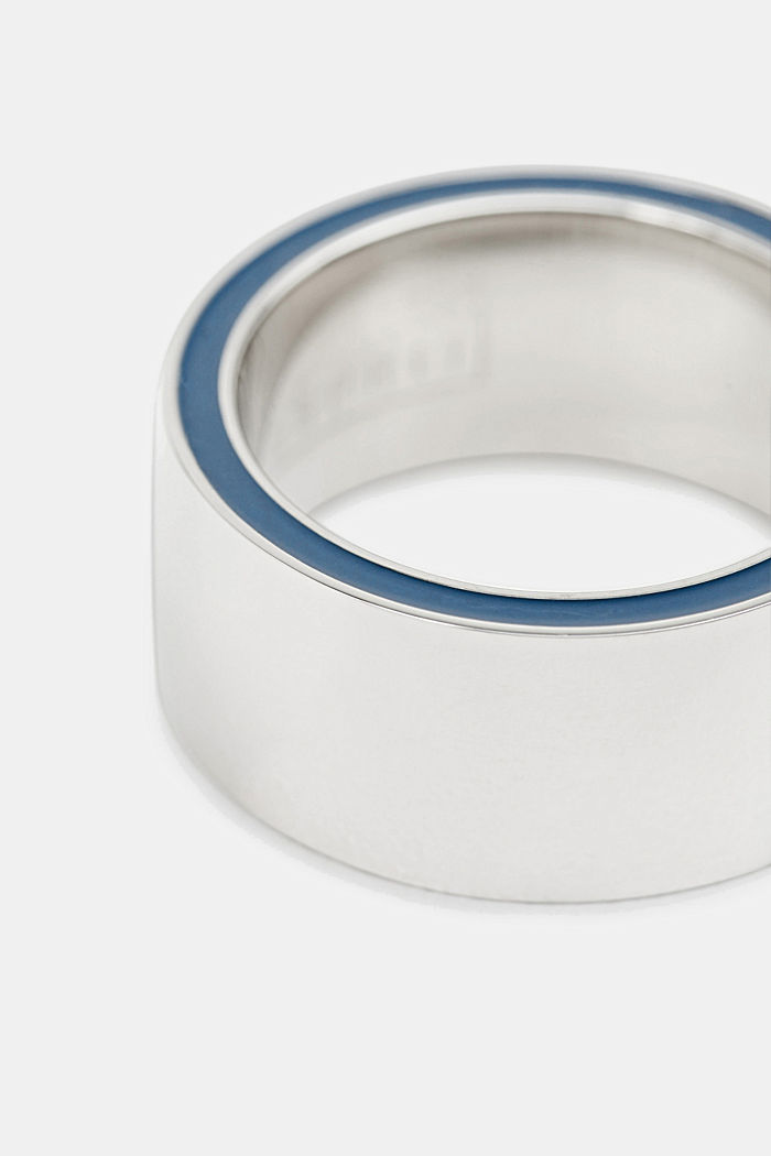 Ring with a blue detail, stainless steel, SILVER, detail image number 1