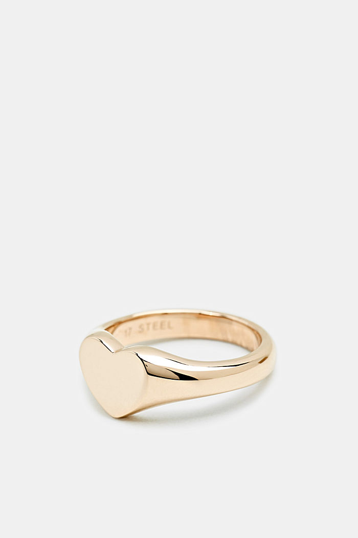 Heart-shaped ring made of stainless steel, ROSEGOLD, detail image number 1