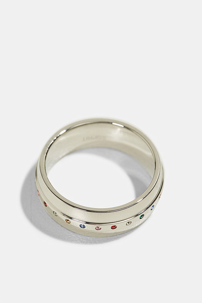 Stainless-steel ring trimmed with colourful zirconia