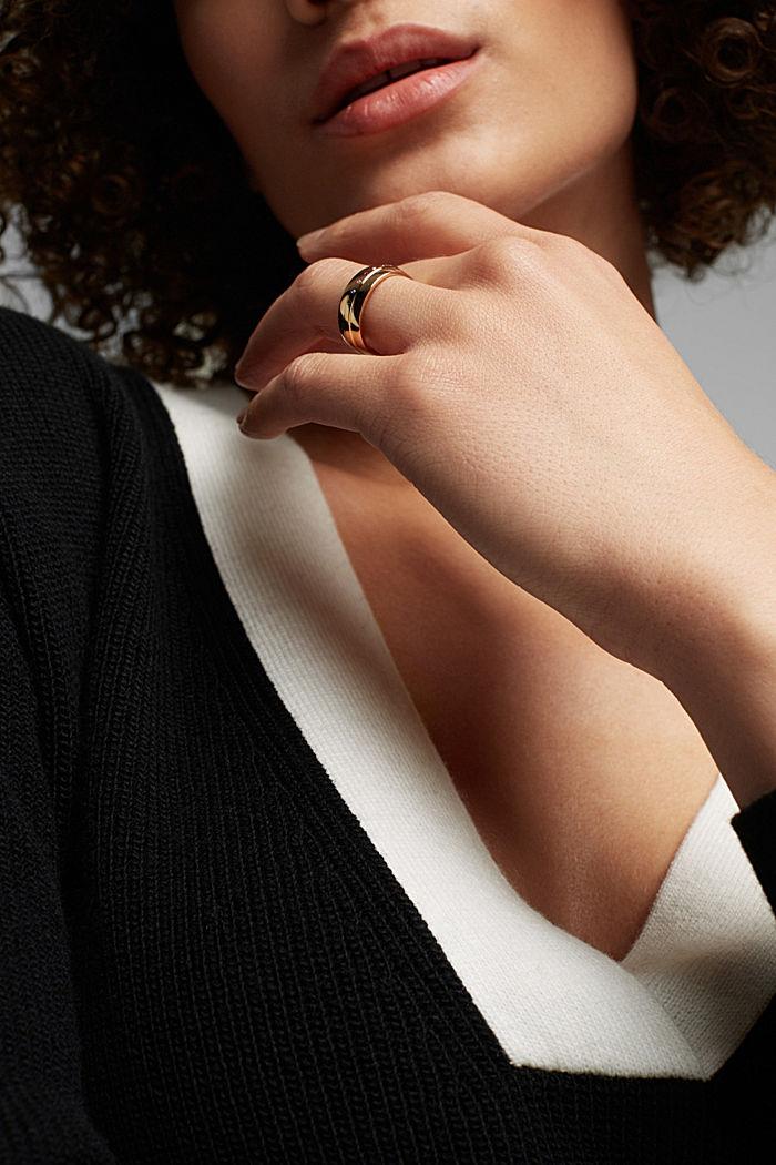 Vergoldeter Edelstahl-Ring mit Zirkonia, GOLD, detail image number 2