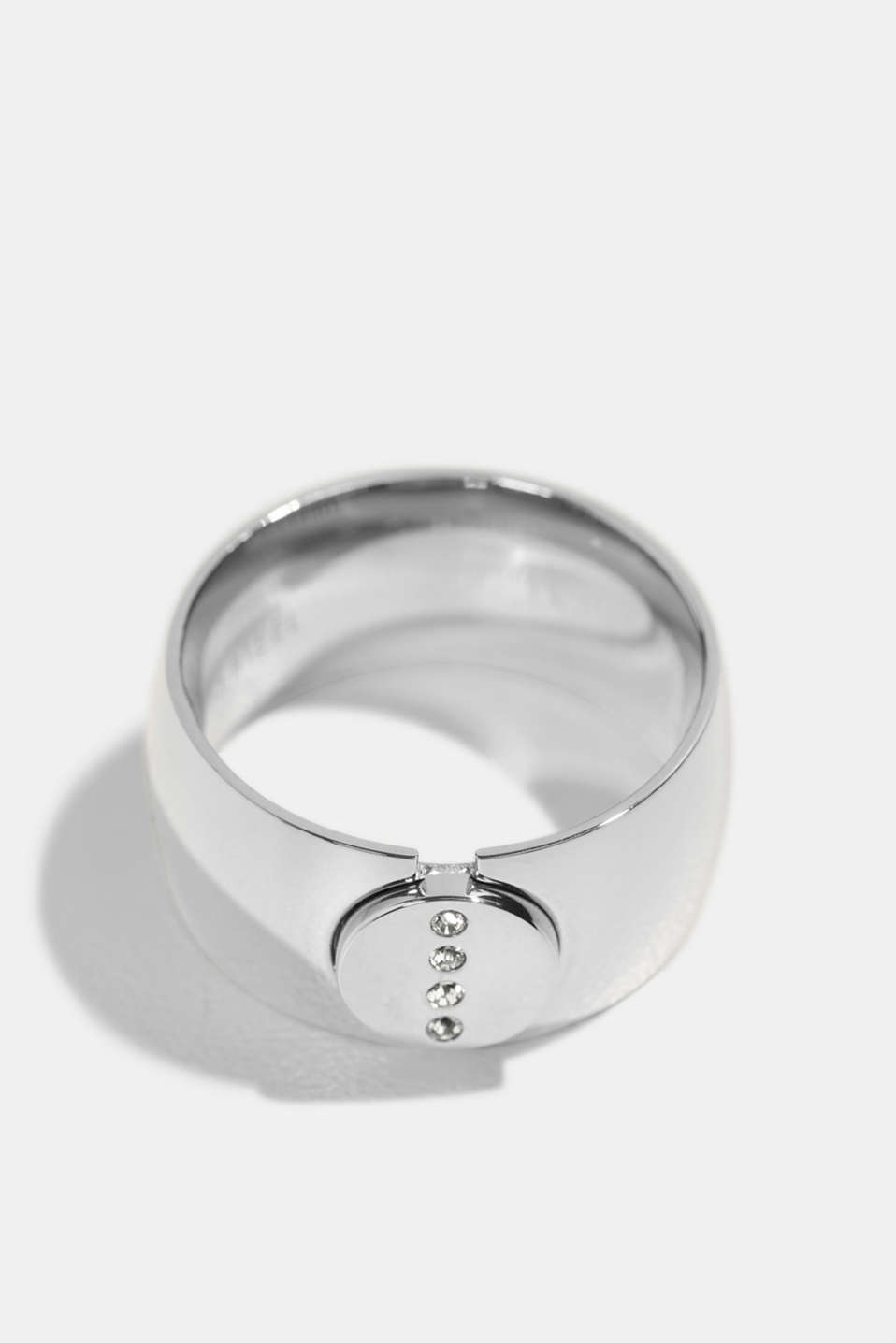 Esprit - Stainless-steel ring trimmed with zirconia