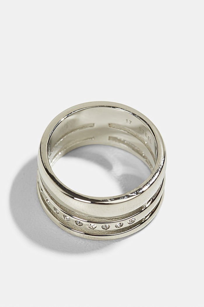 Statement-Ring mit Zirkonia, Edelstahl, SILVER, detail image number 0