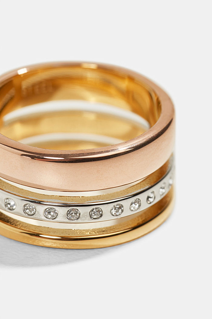 Tricolour stainless steel ring, ROSEGOLD, detail image number 1