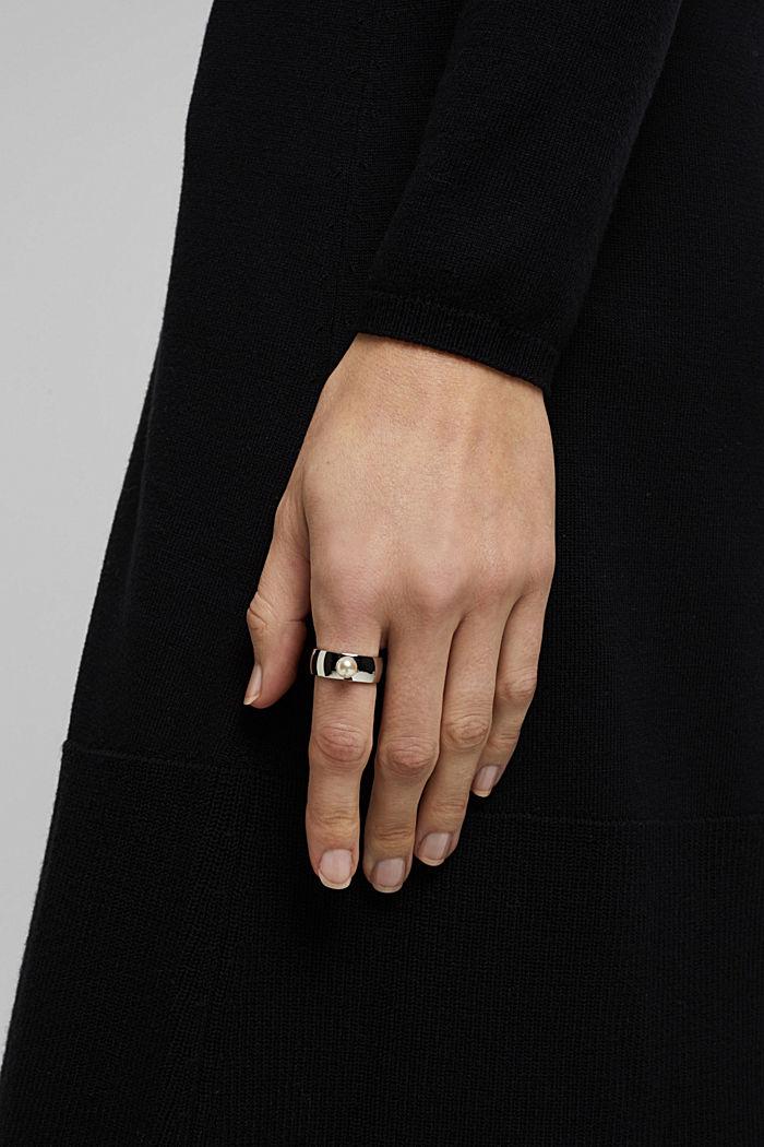 Edelstalen ring met parel