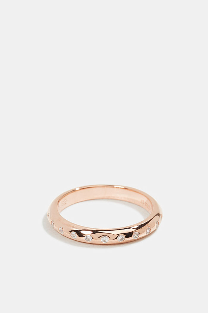 Rose gold ring with zirconia, made sterling silver, ROSEGOLD, detail image number 0