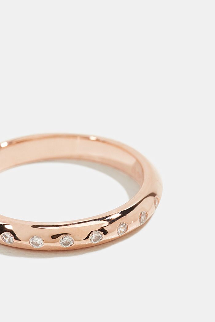 Rose gold ring with zirconia, made sterling silver, ROSEGOLD, detail image number 1