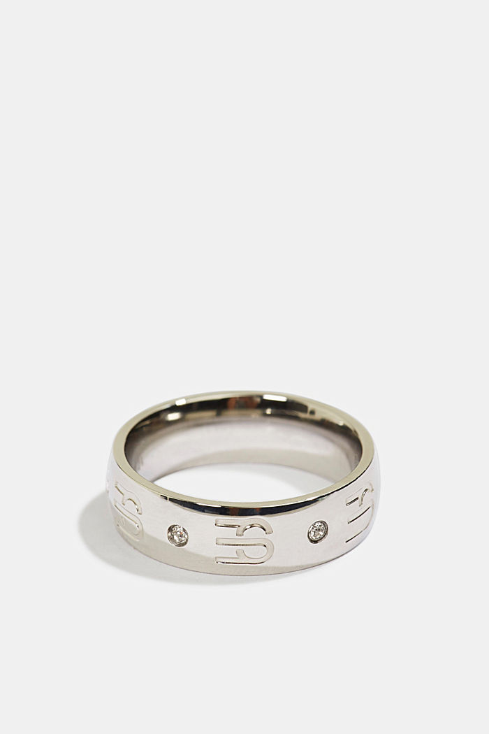 Stainless-steel ring with a logo and zirconia, SILVER, overview