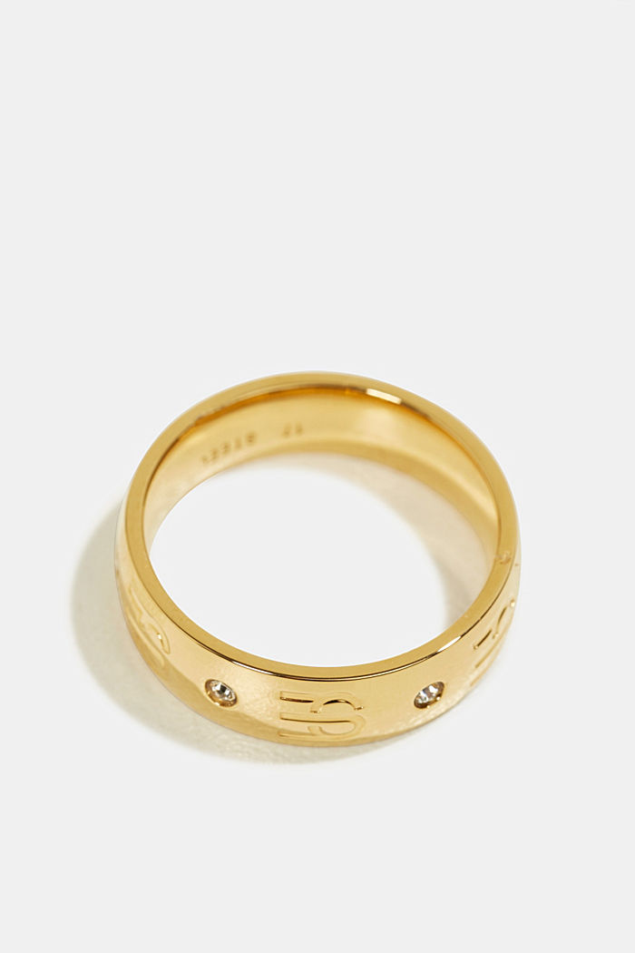 Gold-plated monogram ring in stainless steel