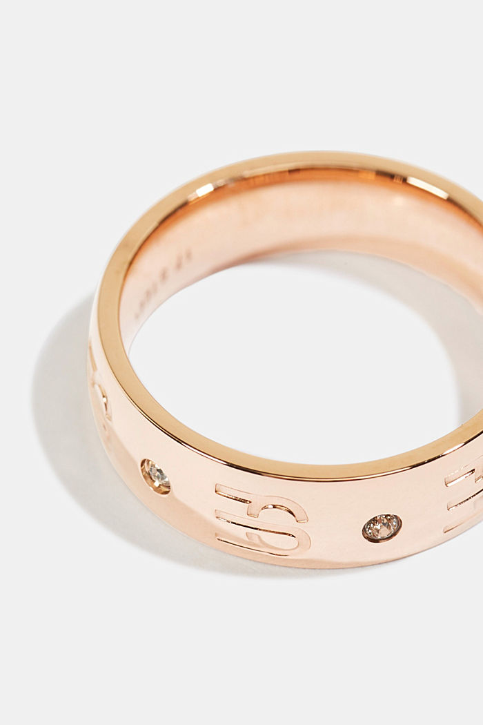 Stainless-steel ring with a logo and zirconia, ROSEGOLD, detail image number 1