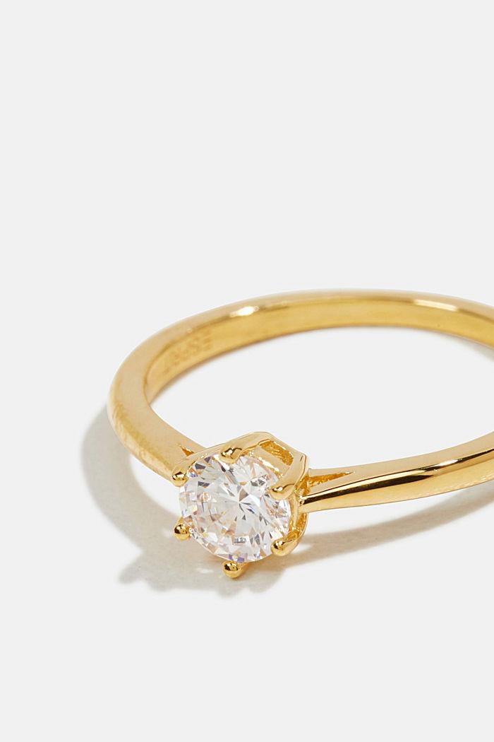 Ring mit Zirkonia, Sterling Silber, GOLD, detail image number 1
