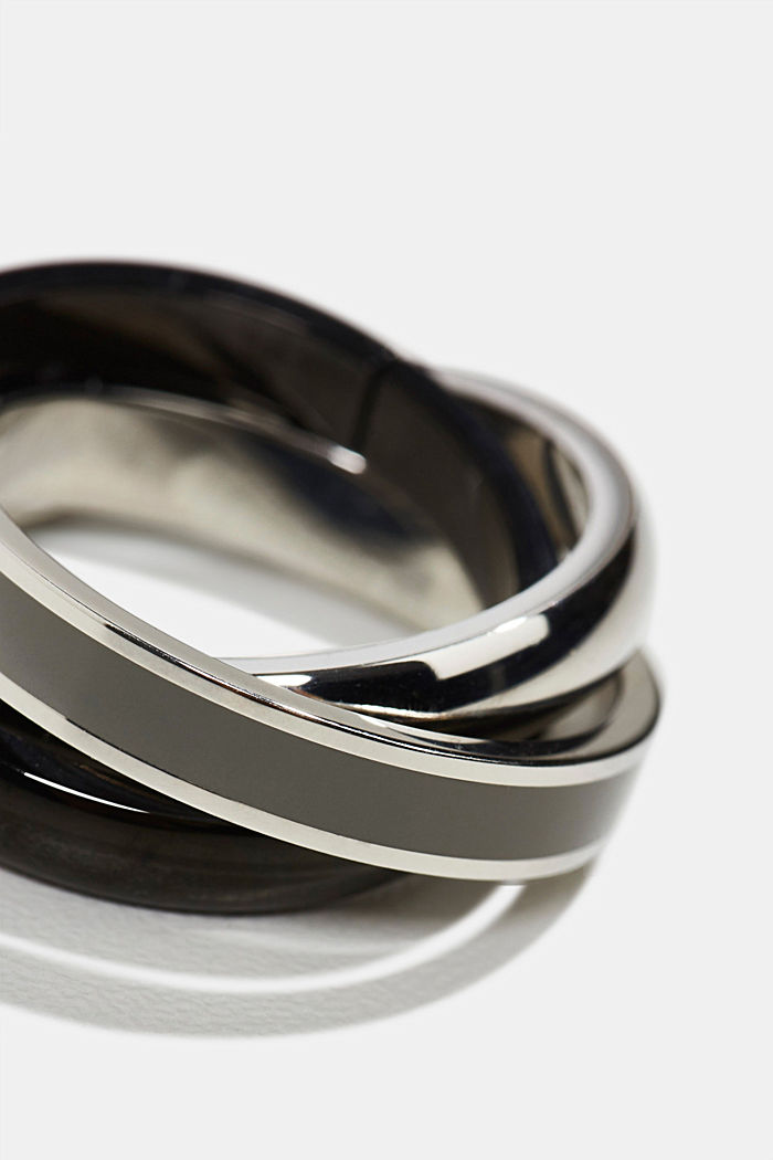 Stainless steel ring trio, DARK GREY, detail image number 1