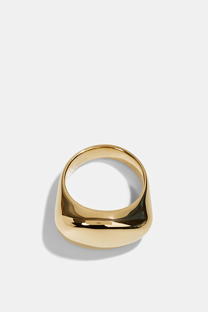 Stainless-steel signet ring, GOLD, detail image number 0