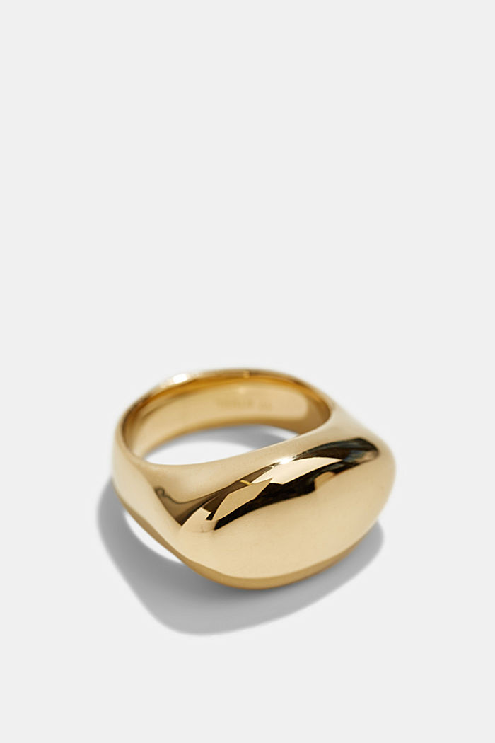 Stainless-steel signet ring, GOLD, detail image number 1
