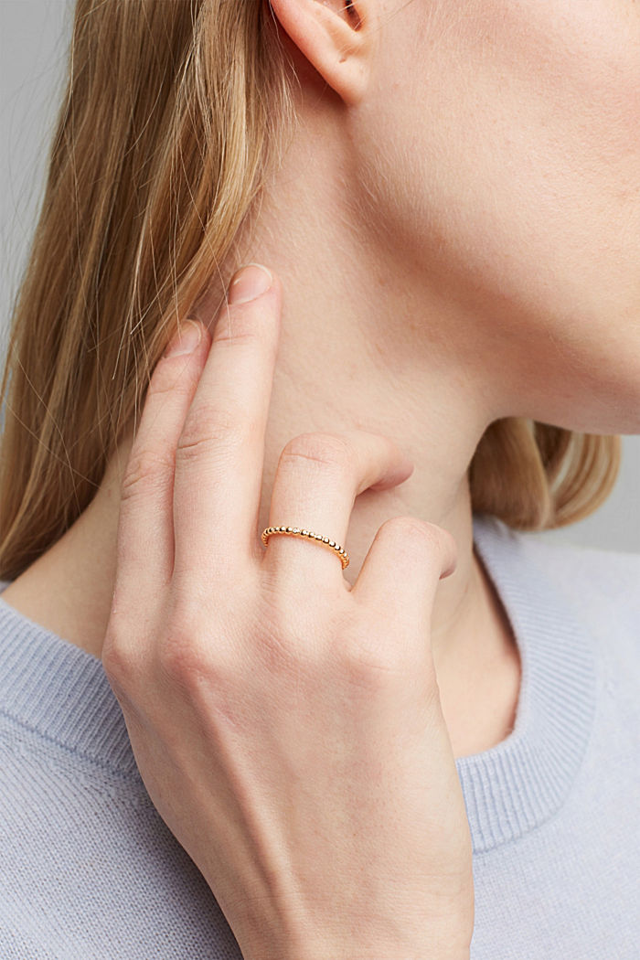 Gold Layering-Ring mit Zirkonia, Sterling Silber